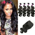 Brazilian Body Wave Hair 4 Bundles with Closure Human Hair Weave Extensions Weft