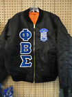Phi Beta Sigma Black MA-1 Flight Jacket with Letters and Crest Size S thru 5XL