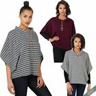 Womens Cowl Polo Turtle Neck Oversize Knitted Cape Jumper Ladies Poncho Crop Top