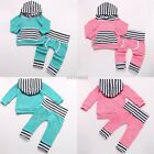 Striped Toddler Kids Baby Boy Girl Hooded Tops+Pants Outfits 2PCS Clothes Set AU