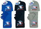 Boys Official Peppa George Pig Champion Hat Scarf & Gloves Set 3 to 12 Years
