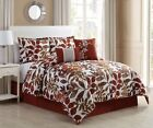 10 Piece Autumn Spice/Brown Bed in a Bag w/500TC Cotton Sheet Set