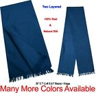 Men/Women Premium Quality 100% Natural Silk Long Scarf Solid & 2 Tone Colours