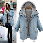 Donna Giacca In Jeans Giacca Mantella Denim Cappotto Trench Blazer Parka