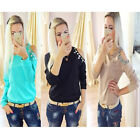 Fashion Women Cold Off Shoulder T shirt Cut Out Long Sleeve Pullover Tops Blouse