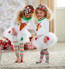 US Stock Christmas Baby Kids Girls Tops Tutu Pants Leggings Outfits Set Clothes