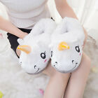 Slip On Adult Size Fantasy White Unicorn Plush Cotton Slippers Indoor Shoes USA