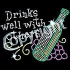 Drinks well T Shirt Rhinestone Christmas Gift S M L XL  2X 3X 4x 5x 6x U.S.Sz