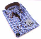Brand New Mens White Blue & Brown Striped Double Collar Shirt Slim Fit Formal