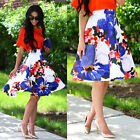 Women Lady Vintage floral print full skirt high waist dress Flared Pleated Skirt