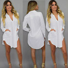 USA Womens V Neck Loose Chiffon MINI Shirt Dress Long Sleeve Casual Blouse Tops