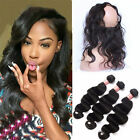 8A Brazilian Human Hair 3 Bundles/150g+360 Pre Plucked Lace Frontal Band Closure