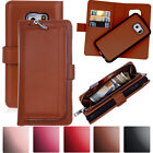 Zipper Leather Magnetic Detachable Wallet Case For Samsung Galaxy S7 S6 Edge