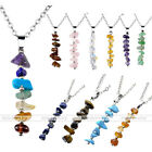 1pc Chakra Crystal Gem Gravel Stones Bar Pendant Adjustable Necklace Women Gift