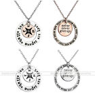 1pc Round Silver Alloy Carved Words Pendant Charm Chain Necklace Jewelry Gift