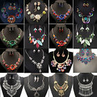 Jewelry Sets Pendant Chain Crystal Choker Chunky Statement Bib Necklace Earrings
