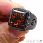 Mens ring - amber gemstone ring - 925 Sterling Silver ring with Black cover
