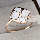 A1-R3109 Fashion White Glaze Band Ring 18KGP Size 5.5,6,8,9