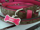 NEW COACH PINK SIGNATURE SET DOG BONE SMALL MEDIIUM DOG COLLAR LEASH S M