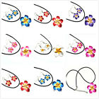 Hawaii Plumeria Flowers Jewelry Sets Fimo Polymer Clay Earrings Necklace Pendant