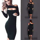 Women Sexy Long Sleeve Off Shoulder Club Party Evening Cocktail Short Midi Dress