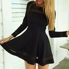 Women Long Sleeve Bodycon Casual Maxi Party Evening Cocktail Short Mini Dress