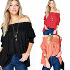 Womens Off-shoulder Loose Top Short Sleeve Blouse Ladies Casual Tops T-Shirt New