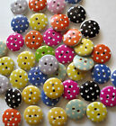 15MM MIXED WOODEN POLKA DOT ROUND 2-HOLE BUTTONS CRAFT SEWING SCRAPBOOK-VAR QTY