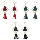 New Fashion Girl Wood Great Triangle Tassel Dangle Hook Jewelry Long Earrings