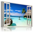 3D BEACH Window View Canvas Wall Art Picture Large SIZES W1 READY TO HANG