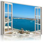 3D GREECE Window View Canvas Wall Art Picture Large SIZES W5