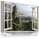 3D FANTASY Window View Canvas Wall Art Picture Large SIZES W3
