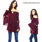 BOHO 70's Fairy Goth Hippie Pom Pom Bell Sleeve On Off Shoulder Tunic Top S M L