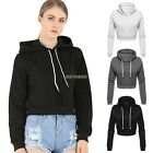 Women Fleece Long Sleeve Hooded Crop Tops Pullover Sweatshirt Hoodie Coat Blouse
