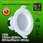 10x Recessed 10W 70mm Cutout Dimmable Led Downlight Kit 7 Year Warranty ICF SAA