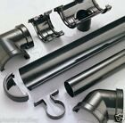 Half Round Guttering 112mm 68mm Downpipes Fittings Rainwater Black Brown White