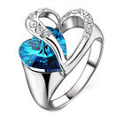 ocean blue love heart crystal ring white gold wedding lover Accessory Gifts