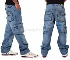 Peviani Mens Boys Cargo Combat Star 002 SWB Jeans Time G Is Money Loose Hip Hop