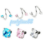Crystal S Twist Cartilage Helix Lip Nose Ring Internal Thread Piercing Jewelry