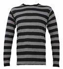 NYC Long Sleeve PUNK Stone Stripe Striped Shirt Black Gray Men's S M L XL 2XL
