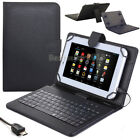 "US For 7""- 8"" inch Tablet Case+Keyboard Micro USB PU Leather Stand Cover Stylus"