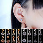 UP 1pc CZ Prong Tragus Cartilage Piercing Stud Ear Ring Stainless Steel New