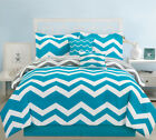 Chevron Teal Bed in a Bag w/500TC Cotton Sheet Set