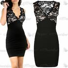 Womens Ladies Sleeveless Conrast Front Lace V Neck Party Bodycon Fit Mini Dress