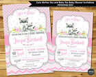FOX WOODLAND FOREST ANIMALS BABY SHOWER PERSONALISED INVITATION INVITE CARD GIRL