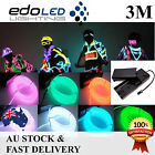 3M EL Wire Flexible Neon Glow Strip Lights Glasses Rope Power Pack Dance Party