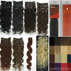 Women20''8PCS 20 Colors 100G Clip in Remy Human Hair Extensions Body Wavy Beauty