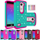 Hybrid Shockproof Rubber Bling Crystal Case Cover for LG Sunset L33L/Risio H343