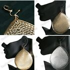 """CLIP ON 4.5""""GIANT TEARDROP retro EARRINGS hammered metal BIG gold/silver fashion"""