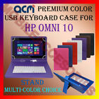 """ACM-USB COLOR KEYBOARD 10"""" CASE for HP OMNI 10 TABLET LEATHER COVER STAND CARRY"""